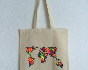 Canvas tote bag - World