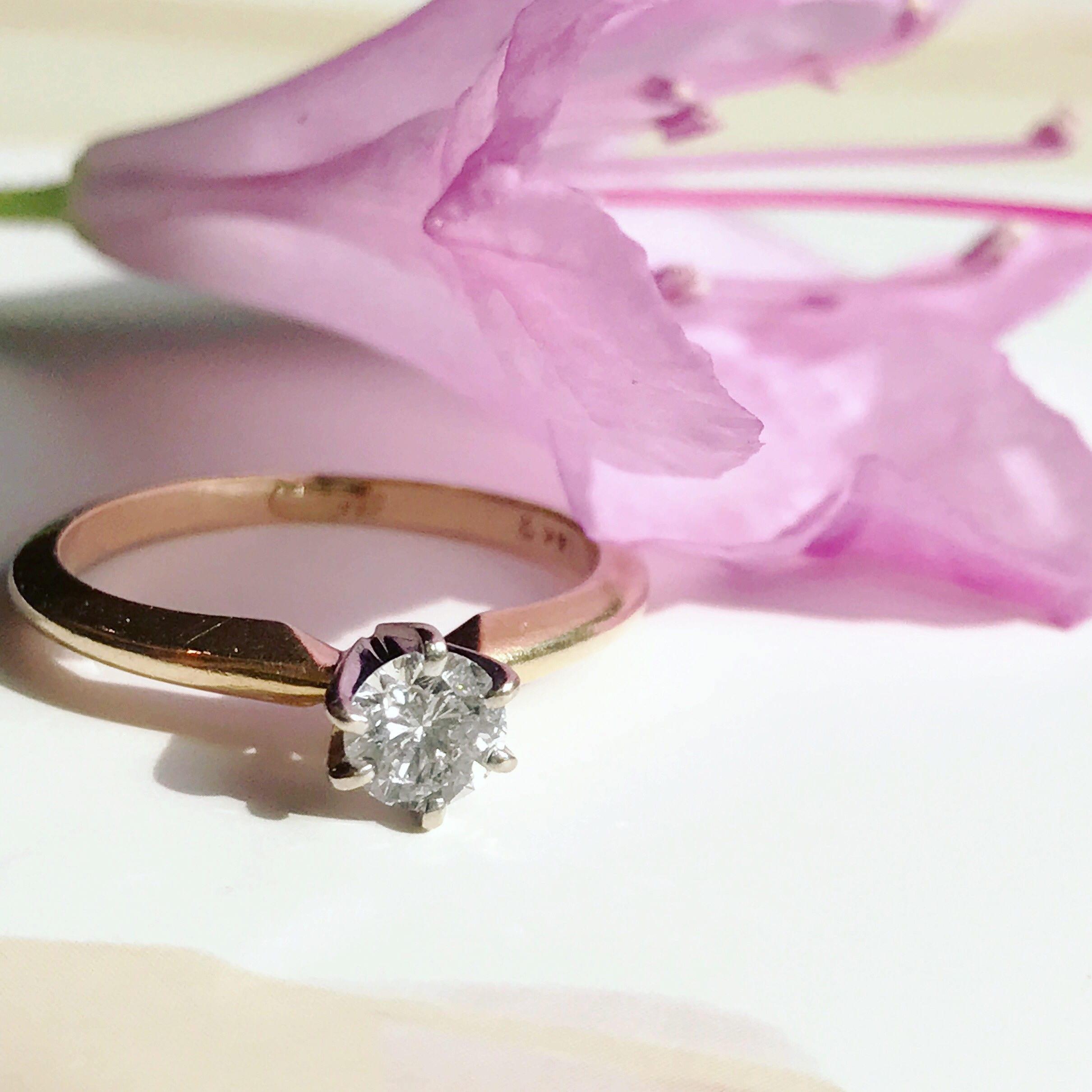 Vintage mid century diamond engagement ring .33 CT solitaire