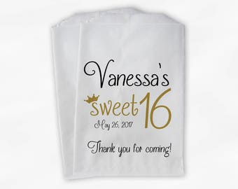 Sweet 16 Birthday Personalized Candy Buffet Bags - Black and Gold Thank You Custom Favor Bags with Crown - 25 Paper Treat Bags (0081)