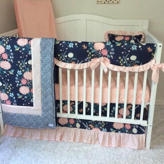 Baby Bedding Crib Set Blush Pink Coral Navy Teal Yellow Floral
