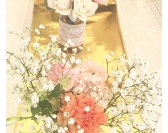 Burlap lace mason jar flower arrangement