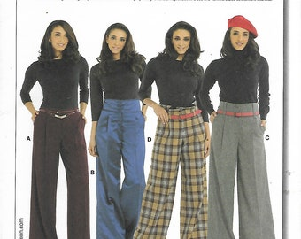 Uncut Burda Sewing Pattern #7717 - LADIES PANTS - Semi Fitted, Wide Band Waist, Baggy Leg/Flared - Sizes 8, 10, 12, 14, 16, 18 - Plus size