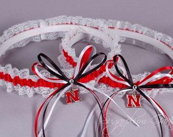 University of Nebraska Cornhuskers Lace Wedding Garter Set