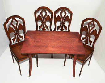 Furniture for Dolls 1/6 12 inches Barbie FR Poppy Parker Table & 4 chairs