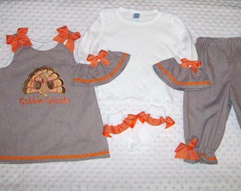 Brown Gingham Turkey Gobble Gobble Applique Monogram A-line Top with Ruffled Pants with Orange Ric Rac and Bows