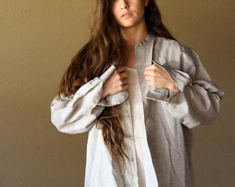 Ash Grey Linen Button Up | Minimalistic Linen Top