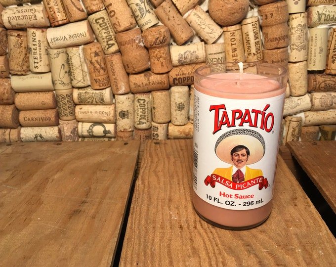 Tapatio hot sauce bottle with a Soy Indian Sandalwood Candle