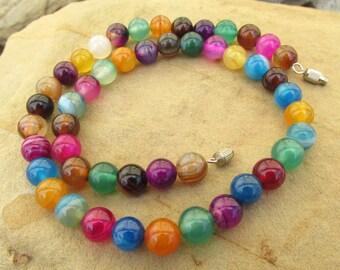 Gemstone choker necklace gemstone necklace agate necklace mixed agate necklace meditation healing necklace yoga necklace boho gift.