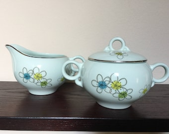 Mid Century Nobility China Mist Cream and Sugar Set