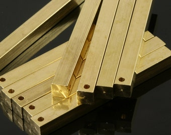 """Raw brass bar square stamping bar 5x50mm 3/16""""x2""""  finding square rod industrial design (2mm 5/64"""" 12 gauge hole ) sbl550-1092"""
