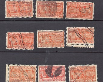 US E16 Special delivery Stamps of 9 Used