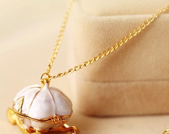Cinderella Fairytale Princess Pumpkin Carriage Locket Necklace Magic Car for Women Jewelry Gift