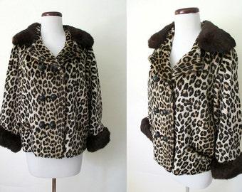 Beautiful 1950's Faux Leopard Fur Jacket with Brown Fox Fur Trim Rockabilly VLV Pinup Vixen Glamour Size-Medium