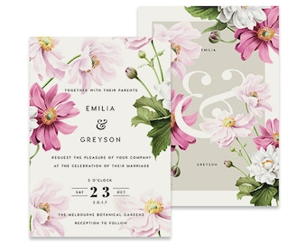 Floral Wedding Invitation | Transfigure Deco | Printable DIY Invite, Affordable Wedding Invitation | pink flowers and green leaves