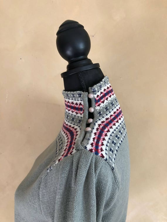 Vintage Sweater 70/80's era with high Button down neck