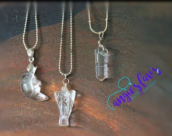 Ball Chain Necklaces, Crystal, Crescent Moon, Angel