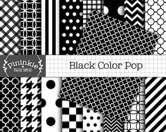 8.5 x 11 Black & White Digital Paper, Instant Download, Commercial Use, black chevrons, polka dots, gingham, black quatrefoil, Scrapbooking