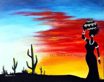 Desert Sunset- Landscape painting landscape art abstract landscape desert painting desert sunset desert decor sunset painting desert art