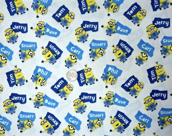 Quilting Treasures - Millions of Minions - 24963 White - Minions with Their Names on White - One Yard of Fabric