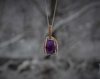 Small Dark Purple Amethyst 14 K Gold and Sterling Wire Wrapped Gemstone Necklace