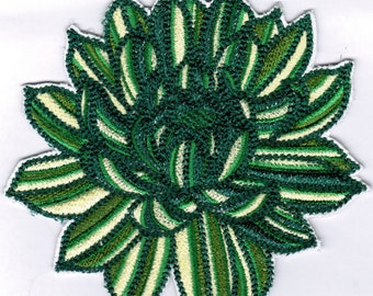 Succulent Patch | Large Agave Machine Embroidered Patches & Embellishments | Green Teal Plant
