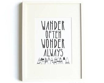 Wandern Frage mich oft, immer® Drucken von Hallo kleine Welt, Reise-Druck, Berg Druck, Wandern Druck Wunder Druck, schwarz und weiß, Kinderzimmer