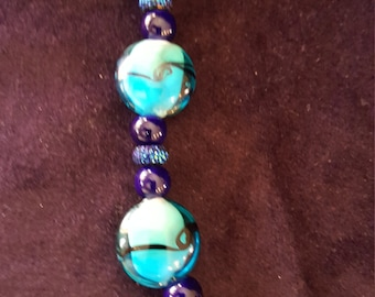 Blue multi-color glass beads bracelet