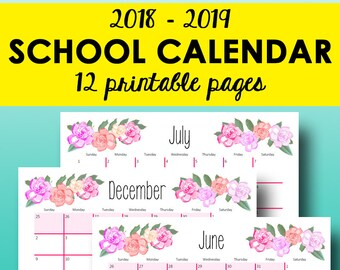 2018-2019 School Calendar Printable, Monthly Planner 2018-2019 Calendar, Monthly Printable Academic Planner, Letter Size, Instant Download