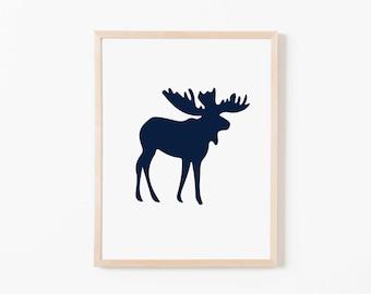 Navy Moose Nursery Art. Nursery Wall Art. Nursery Prints. Nursery Decor. Boy Wall Art. Adventure Nursery. Moose Print. Instant Download.