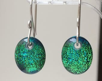 Vibrant Green Drop Earrings with 925 Sterling Silver Earwires