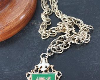 Vintage heraldic crest medallion Fleur De Lis necklace-reversible coat of arms design,beautiful coat of arms pendant w lion,Green & gold