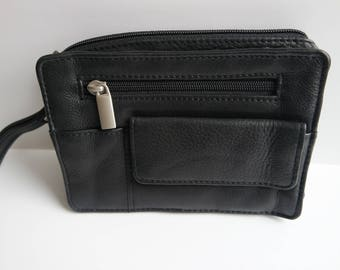 Vintage Men's Wristlet, Black Leather Wrist Bag, Men's Purse Bag, 1990s