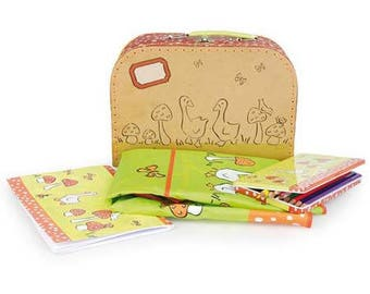 Kit creative coloring / creative coloring theme mushrooms geese suitcase / DIY Kit for children