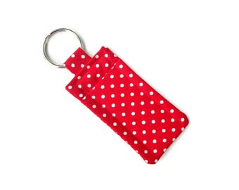 Red White Polka Dot Pattern Lip Balm Holder - Travel Soap Pouch - Attach to Bag or Purse - Keychain for Lip Balm - Hand Sewn Fabric Carrier