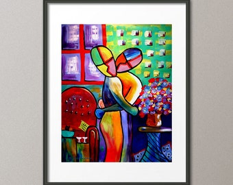Gallery Canvas and Art Prints Figurative People Couples Love Heart Abstract Contemporary Modern Valentine