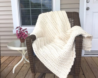 14 Color Options! Crochet Super Chunky Blanket   Extra Large Chunky Crochet Afghan   Crochet Chunky Winter Throw or Bed Blanket