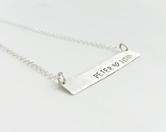 True Love  (necklace) - Thin, hammered sterling silver bar necklace with your personalized words, names, date
