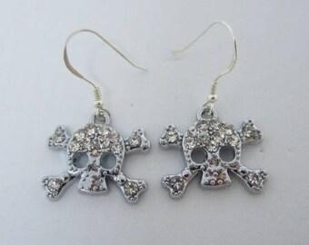 Rhinestone Skull & Crossbones Earrings