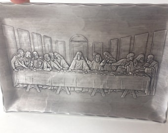 THE LAST SUPPER Forging Hand Hammered Aluminum Tray Small 9x6in