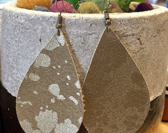 Faux Leather Gold Large Teardrop Earrings