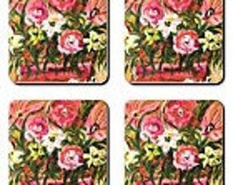 Item # 12 Pink Floral Coasters (3.5 x 3.5)