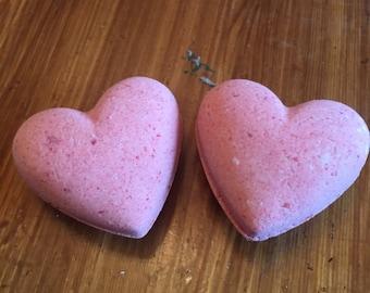 Heart shaped bath bombs