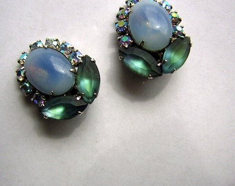 Vintage Coro Earrings Faux Moonstone & AB Rhinestones Satin Glass Faceted Navettes - Lovely Colors