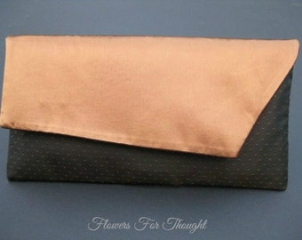 Peach Wedding Clutch Bag, Brown Copper Purse, Envelope Bag Prom, Mother of Bride Groom Gift