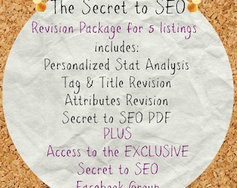 Etsy SEO help for 5 listings, SEO Assistance, Etsy Tag Revision, Title Revision, SEO optimization, Etsy Help, Best Selling Items, Stat