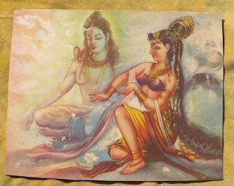 Shiva and Parvati  -Vintage Indian Hindu Devotional poster print
