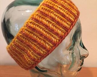 Handknit Merino Wool Reversible Headband, #043