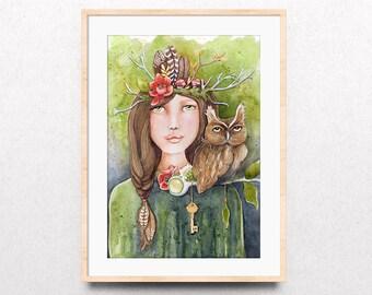 Woodland Watercolor Print, Forest Owl Art Print, Forest Guide Art Print, Forest Friends Art Print, Giclee Watercolor Print, Dorm Wall Art