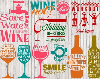 wine svg bundle, wine clipart, svg files for silhouette cricut files, png files, wine printable, digital art, vector files, sign svg, vinyl