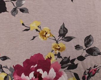 Dusty Pink Rose Flower Printed on Rayon Spandex Jersey Knit Fabric by the Yard- Style -P 110-C-HVY-RSJ